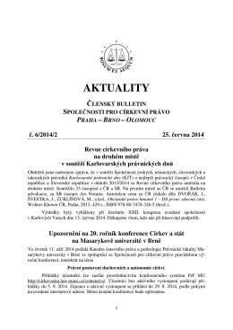Aktuality č. 6/2014/2 - Společnost pro církevní právo