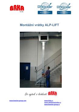 Prospekt: Montážní vrátky ALP-LIFT