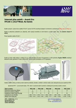 Internet přes satelit – Avanti Pro HYLAS 1 (33,5°West, Ka