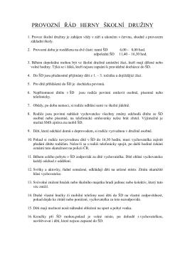 Řád herny školní družiny - Základní škola Uničov U Stadionu