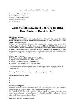 """""""Ano osobní železniční dopravě na trase Hanušovice – Dolní Lipka"""""""