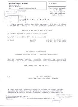Finanční úřad v Blansku Seifertova 7 678 11 BLANSKO Čj .: 54002