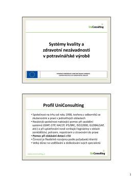 Systémy kvality a zdravotní nezávadnosti v potravinářské výrobě