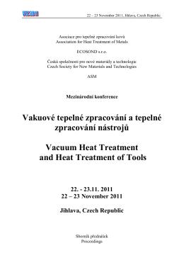 Vakuové tepelné zpracování a tepelné zpracování nástrojů