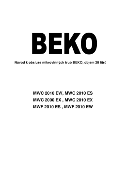 BEKO MWC 2010 EX Microwave User Guide Manual