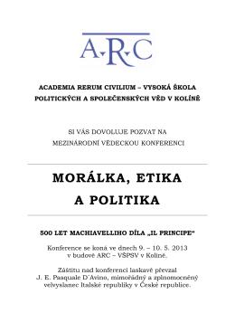 """morálka, etika a politika 500 let machiavelliho díla """"il principe"""""""