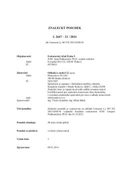 ZNALECKÝ POSUDEK č. 2647 – 21 / 2014