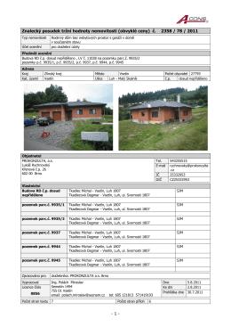 - 1 - Znalecký posudek tržní hodnoty nemovitosti