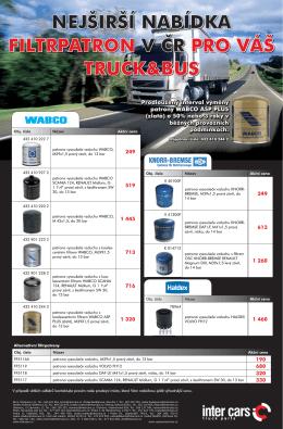 nejširší nabídka filtrpatron v čr pro váš truck&bus