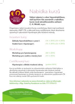 Nabídka kurzů - Centrum hiporehabilitace Mirákl, ops