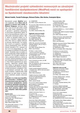 mezinárodní projekt vyhledávání nemocných se závažnými