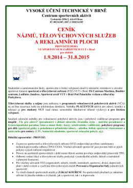 ceník nájmů, tělovýchovných služeb a reklamních ploch 1.9.2014
