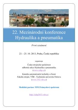 22. Mezinárodní konference Hydraulika a pneumatika