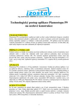Technologický postup aplikace Plamostopu P9