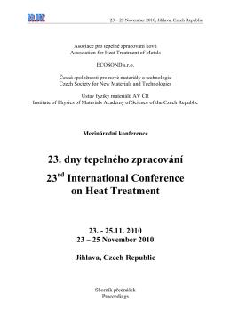 23. dny tepelného zpracování s mezinárodní účastí