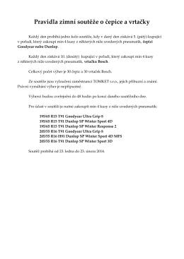 Pravidla zimní soutěže o čepice a vrtačky