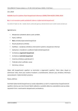nabidka kurzu manažera isms - řízení kybernetické bezpečnosti
