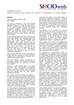 «SOCIOweb_7/8_2010» Editorial Vážené čtenářky a vážení čtenáři