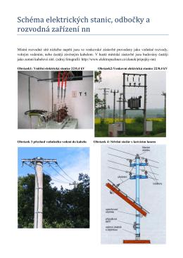 Schéma elektrických stanic, odbočky a rozvodná