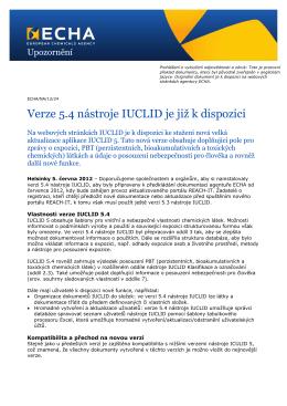 Verze 5.4 nástroje IUCLID je již k dispozici - ECHA