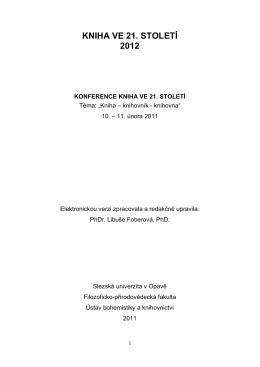 KNIHA VE 21. STOLETÍ 2012 - Kniha ve 21. století (2014)