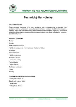 Technický list – jímky
