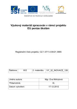 Výukový materiál zpracován v rámci projektu EU peníze