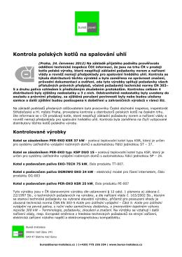 Zpráva ČOI o kotlích z Polska - Bureš