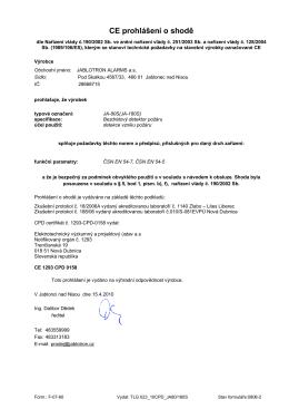 CE prohlášení o shodě - Jablotron alarms a.s.
