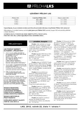 LKS, 2012, ročník 22, číslo 1 / strana 1