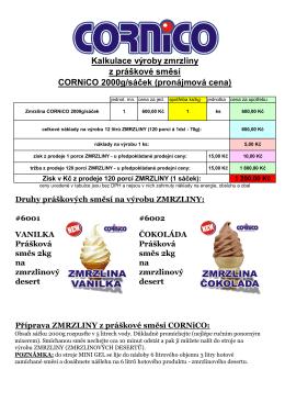 Pronájem kalkulace výroby zmrzliny