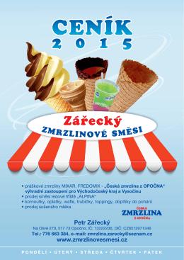 Zářecký zmrzlina - cenik 2015