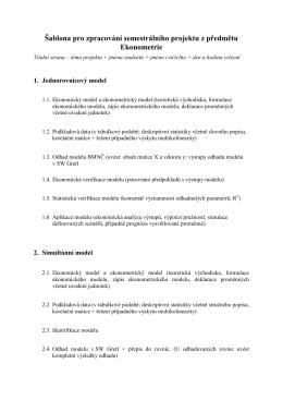 Šablona pro zpracování semestrálního projektu z předmětu