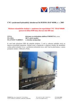 CNC synchronní hydraulický ohraňovací lis DURMA