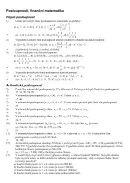 Posloupnosti, finanční matematika )