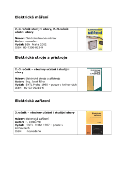 Elektrická měření Elektrické stroje a přístroje Elektrická zařízení