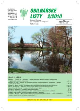 Obilnářské listy 2/2010 - Zemědělský výzkumný ústav Kroměříž, sro