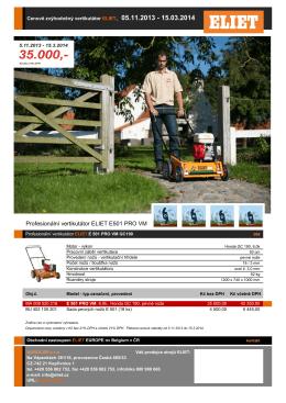 Profesionální vertikutátor ELIET E501 PRO VM