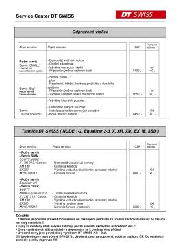 Ceník servisních úkonů pružení DT SWISS