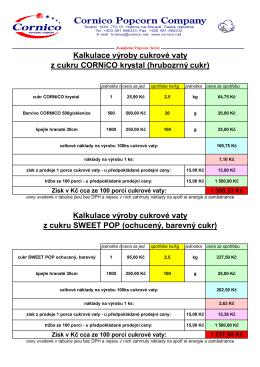 Kalkulace výroby cukrové vaty