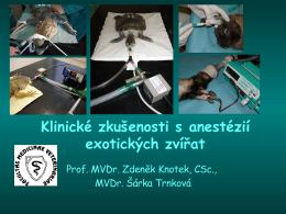 Klinické zkušenosti s anestézií exotických zvířat