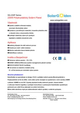 230W Polykrystalický Solární Panel Vlastnosti