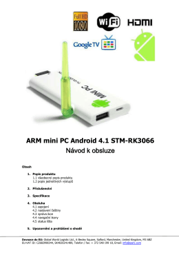 ARM mini PC Android 4.1 STM-RK3066 Návod k obsluze