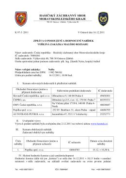 zpráva - Hasičský záchranný sbor ČR