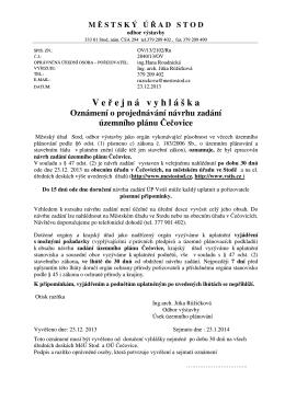 ÚP Čečovice - vyhláška, oznámení
