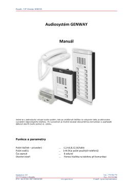 Audiosystém GENWAY Manuál - Domovní telefony a videotelefony