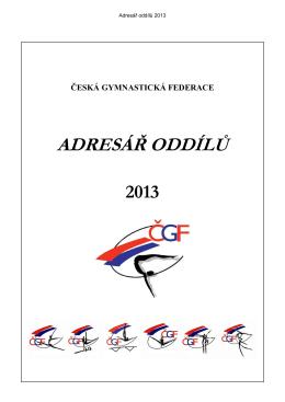 adresář oddílů čgf - 2013 - Česká gymnastická federace