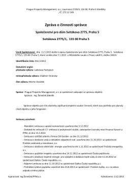 3 Zpráva o činnosti správce - Spolecenstvi vlastniku Svitakova 2775/1