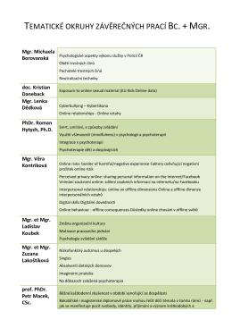 Tematické okruhy závěrečných prací (Bc. + Mgr.)