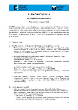 Plán činnosti MCK 2014 - Metodické centrum konzervace